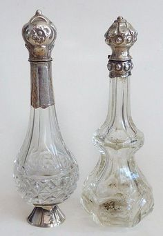 Dutch perfume bottles | Antique+19thC+Dutch+Silver+Rock+Crystal+Scent+Perfume+Bottles