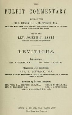 Leviticus, The Pulpit Commentary