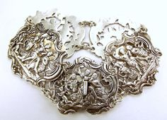 Victorian British Raj Silver 5 Fretwork Panel Bracelet from m4gso on Ruby Lane