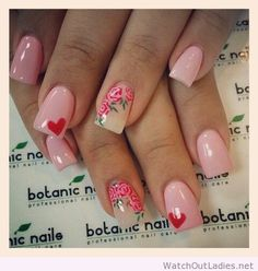 Botanic nails love, pink, roses, hearts