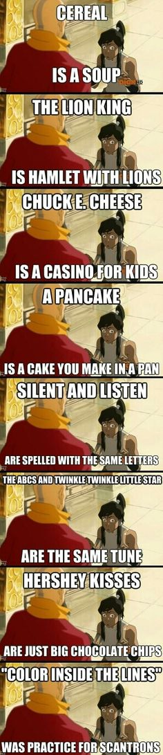 Lol the legend of Korra. << I haven't seen Legend of Korra, but this is funny. Really Funny Memes, Stupid Funny Memes, Funny Laugh, Funny Relatable Memes, Funny Texts, Hilarious, Funny Stuff, Random Stuff, It's Funny