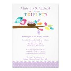Sweet Birdies Triplet Baby Shower Invitation #triplets #birdies