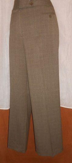 "Larry Levine Pants Slacks Stretch Career 12 Khaki Tan checkered Print 31"" Inseam #LarryLevine #DressPants"