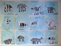 Zebra. 5 year old children with Britta Johanson. Watercolour.