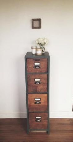 How easy would it be to line the front of drawers with wood grain printed contact paper? I think Ive seen some at Dollar Tree Antique File Cabinet - Filing Cabinets - Ideas of Filing Cabinets Furniture, Studio Apartment Organization, Redo Furniture, Alpine Furniture, Natural Wood Desk, Filing Cabinet, Cabinet Makeover, File Cabinet Makeover, Apartment Organization