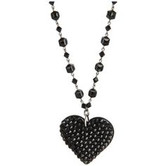 Tarina Tarantino Lilura Necklace ($100) ❤ liked on Polyvore featuring jewelry, necklaces, accessories, black, collares, black heart pendant, black collar necklace, black pendant necklace, chain necklace and collar necklace