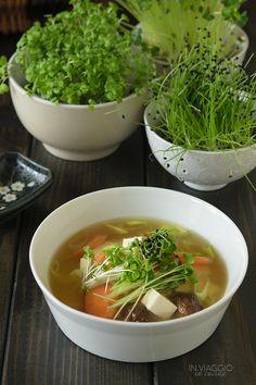 Miso soup with shiitake mushrooms and microgreens