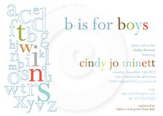 P.I.Y. (print-it-yourself) 5x7 Shower Invitation - ABC Collection (TWINS Edition). $15.50, via Etsy.