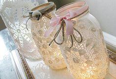 mason jar DIY: burlap & doily luminaries