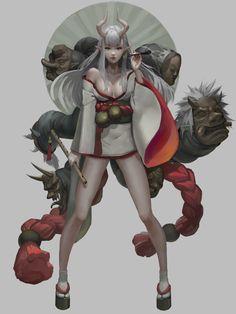Rhb_RBS : Photo ArtStation - Umbrella devil ~, by Fish man ( Yu Ing ) Fantasy Character Design, Character Concept, Character Inspiration, Character Art, Concept Art, Fantasy Characters, Female Characters, Anime Characters, Anime Fantasy