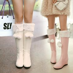 Kawaii Fashion Shop Boots on The Demon's Chest.Japanese Lolita Pompon Felt Half Boots Sweet Bowknot Shoes Dc534 is a must to make an amazing outfit. You can wear it in any occasion - school, office, dates, and parties.