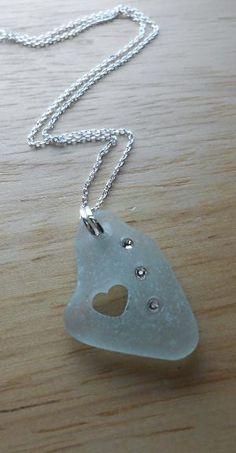 Sea Glass Necklace Beach Glass Jewelry BE MINE by SeaFindDesigns, $30.00 by janice