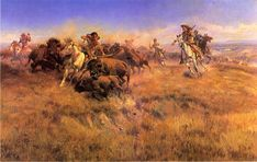 """Spectacular painting capturing one of the most dramatic moments of the American West """"Running Buffalo"""" by Charles Marion Russell (1864-1926). Gilgrease Museum, Tulsa, Oklahoma.   *s*"""
