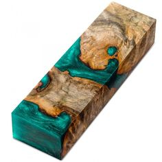 Knife Scale Block, Burls and Swirls, Teal