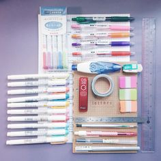"""etudiestudie: """" day 1/30: a photo of your supplies studyblr challenge my bullet journal: letters - from muji grid paper a whole lot of mildliners (obsessive) pilot juice pens pilot g2 pen uni stylefit..."""