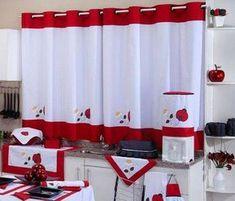 Cortina de Cozinha c/ Ilhós x Varão Simples - Joaninha Cute Curtains, Crochet Curtains, Drapes Curtains, Drapery, Farmhouse Curtains, Kitchen Curtains, Home Crafts, Diy Home Decor, Rideaux Design