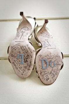 very cute idea. keep the shoes after the wedding as a display with signatures from the bridal party