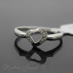 REAL 925 Solid Sterling Silver Love Heart Simulated Diamond Band RING Size 5 J - http://jewelry.goshoppins.com/childrens-jewelry/real-925-solid-sterling-silver-love-heart-simulated-diamond-band-ring-size-5-j/