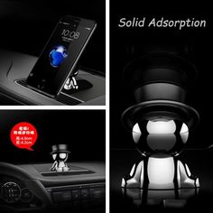 Mini Auto Car Dashboard Stable Magnetic Doll Phone Holder Mount 360° Rotatable Left Right Front 90 Day Aluminum Alloy + Stainless Steel 4.9cm * 2.9cm
