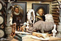 Réedition de vieux portraits et décor de naturalia, Bouche à oreilles Paris