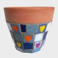 20/1 DENIM - Bright Hearts Mosaic Garden Plant Pot, by JoSara