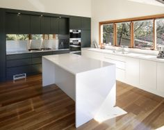 White Kitchen Kickboard loving the timber bench tops, white cabinets & silver splash back