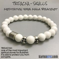 Skulls symbolize protection, strength, power, fearlessness, wisdom and guidance, and surviving through a difficult time.......Tridacna can stabilize mood, eliminate worry, balance mental and physical states & soothe frightened nerves.....Yoga Bracelets Meditation Tibetan Buddhist Beaded Mala Men & Women. Tridacna Skulls.