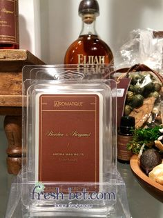 Bourbon & Bergamot Wax Melts $6.50 - Indulge your senses with this bold new Citrus fragrance softened with Cashmere Musk and hints of Bourbon! #MasculineScent #Aromatique #WaxMelt