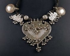 Rajasthani old silver amulet pendants and necklace, India | ethnicadornment