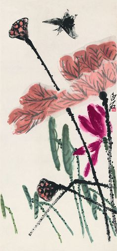 Flowers and Birds,Lotus ink butterfly,rice paper prints,traditional Chinese painting,customize...