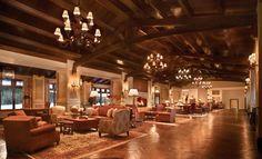 High wood beam ceilings through the Montage Deer Valley Resort in Park City Utah