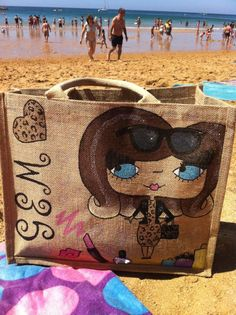 One of our large Bonita's on the beach in Portugal #fashion#style#trend#art#design#craft#illustration#bag#jute#baby#love#paint#handmade#gifts#beach