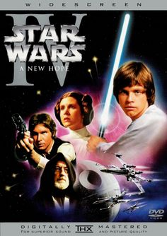 """Star Wars IV: A New Hope (1977) directed by George Lucas, starring Mark Hamill, Harrison Ford, Carrie Fisher, Peter Cushing, Alec Guinness, Anthony Daniels, Kenny Baker, Peter Mayhew, David Prowse and James Earl Jones. """" Luke Skywalker, a spirited farm boy, joins rebel forces to save Princess Leia from the evil Darth Vader, and the galaxy from the Empire's planet-destroying Death Star."""""""