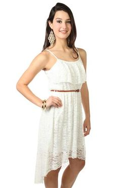 all over lace spaghetti strap belted high low dress
