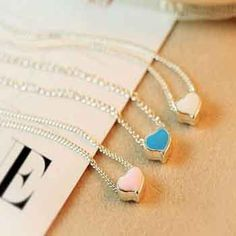 2014 Seconds Kill Trendy Acrylic New Style White Blue Pink Heart Pendant Necklaces for Women Fashion Sweater chain $1.2