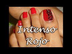Decoración Rojo Intenso para Uñas de los Pies /Intense Red Toe nails art