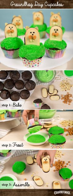 Kick off six more weeks of baking fun with adorable Groundhog Day Cupcakes. Use our chocolate cake recipe for the cupcakes, then bake and top with candy and colorful treats!