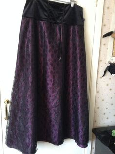 Moonmaiden Purple Taffeta and Black Lace Long Dark Fae Skirt Size 12/14 Gothic