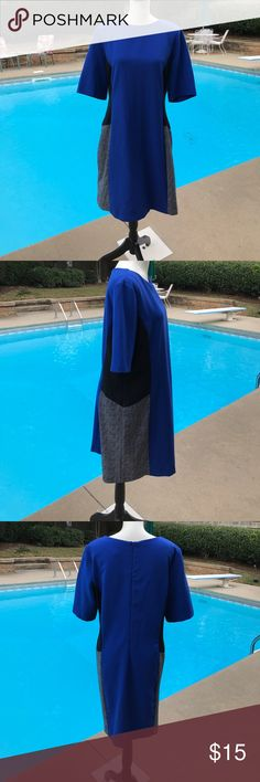 Beautiful Preceptions NY figure flattering dress Beautiful Prexeptions New York figure flattering dress - royal blue, black, and white colors. Lovely design gives a slimmer appearance.  Lightly worn - great condition Preceptions New York Dresses