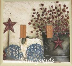 PRIMITIVE COUNTRY BARN STAR BERRIES DOUBLE Switch plate COVER FREE SHIPPING #HANDCRAFTED #WallDecor