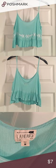 Women's PacSun Teal Crop Top Worn only once or twice! Material: 100% Rayon PacSun Tops Crop Tops