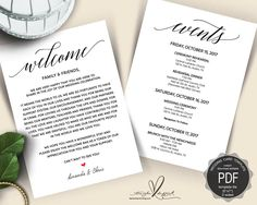 Wedding Welcome And Itinerary Card Editable Pdf Template