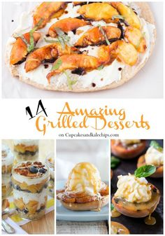 14 Amazing Grilled Desserts - fire up the grill for these dessert recipes all summer long! Cakes, cupcakes, and all of your favortie summer fruits. Great Desserts, Healthy Dessert Recipes, Snack Recipes, Party Recipes, Snacks, Grilled Desserts, Grilled Fruit, Best Gluten Free Recipes, Great Recipes