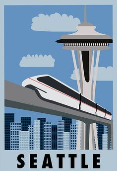 Seattle iconic Space Needle and monorail, leftovers from the World's Fair 1962. And we love 'em!