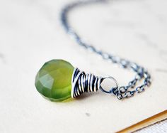 Green Gemstone Necklace Chalcedony Oxidized Sterling by PoleStar, $28.00
