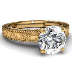 0.90 Ct Round Diamond Antique Style Engraved Solitaire Engagement Ring W Milgrain 14K Yellow Gold