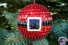 Items similar to Made to order - Santa Belt Sequin and Bead Christmas Ornament on Etsy