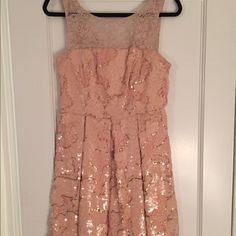 "Eva Franco ""Sugarberry"" dress New with tags! This ladylike fit-and-flare dress is complete with shimmery, petal-pink paillettes. Anthropologie Dresses Midi"