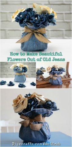 How to Make Beautiful Flowers Out of Old Jeans! Did you know you can create beautiful flowers out of an old pair of jeans and turn them into a rustic centerpiece? Find out how to make this cool craft with blue jeans! Jean Crafts, Denim Crafts, Upcycled Crafts, Diy And Crafts, Denim Flowers, Fabric Flowers, Paper Flowers, How To Make Rose, How To Tie Ribbon