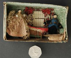 2 Tiny Jointed Antique Victorian Peg Wooden Wood Dolls in Miniature House Room